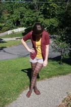 simply vera wang sweater - kohls shirt - Charlotte Rouse shorts - kohls tights -