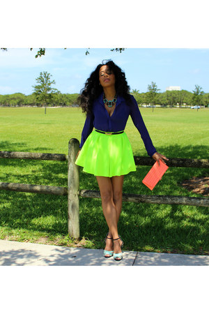 GoJane skirt - sheer purple acne blouse - mint  metallic Forever21 heels