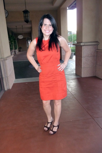 orange Marc by Marc Jacobs dress - brown Sofft shoes