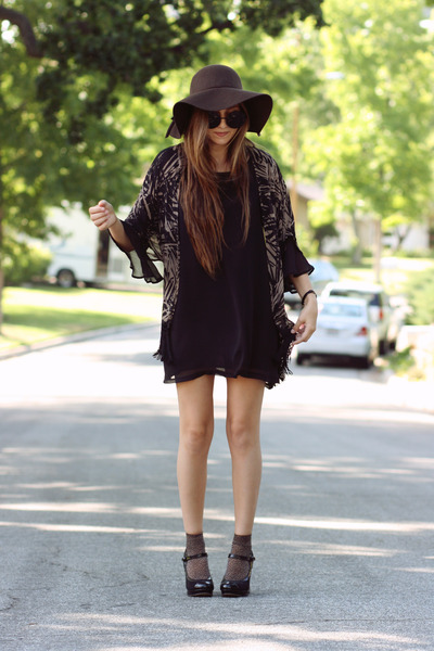 black HereJ dress - dark brown floppy wool hat - brown fringe HereJ cardigan - b