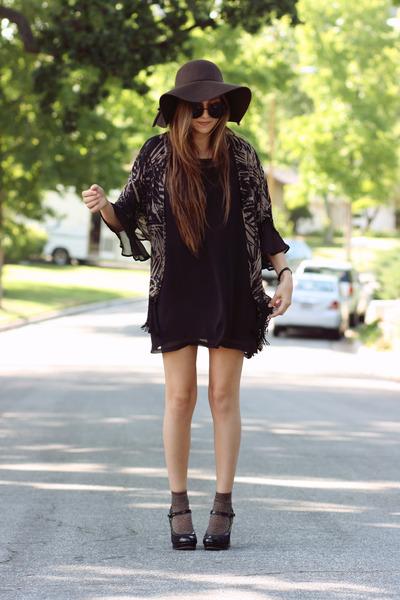 black HereJ dress - dark brown floppy wool hat - brown fringe HereJ cardigan - b