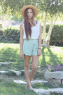 Tan-thrifted-hat-aquamarine-scalloped-hem-herejcom-shorts-white-thrifted-top