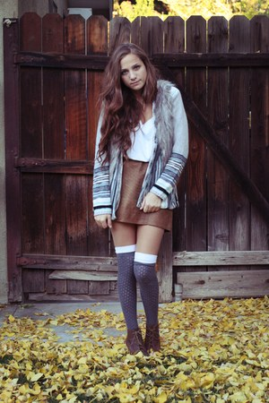 brown skirt - charcoal gray socks - heather gray sweater - heather gray vest - d