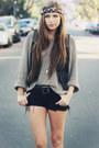 Black-steve-madden-boots-black-cut-off-vintage-shorts-tan-knit-thrifted-jump