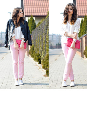 hot pink New Yorker bag - bubble gum H&M pants - white Bershka blouse