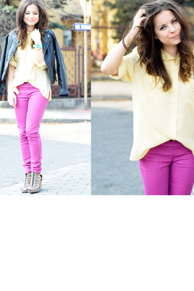 hot pink Bershka pants - light yellow Secondhand blouse