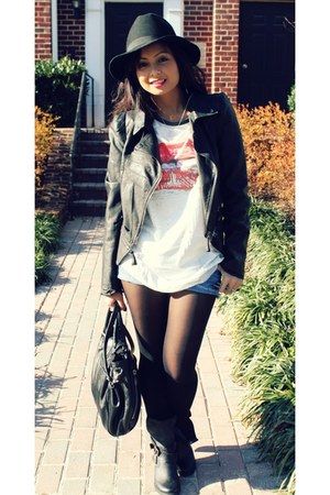 black Forever21 jacket - black france strap Jeffrey Campbell boots