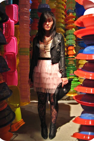 pink tutu from koreae skirt - black from France boots - black from Korea jacket