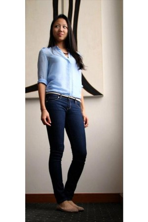 sky blue gold buttons Zara blouse - navy jeggings Forever 21 pants