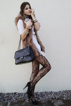 brown faux fur vest - black shoes - cream dress - dark brown lace tights