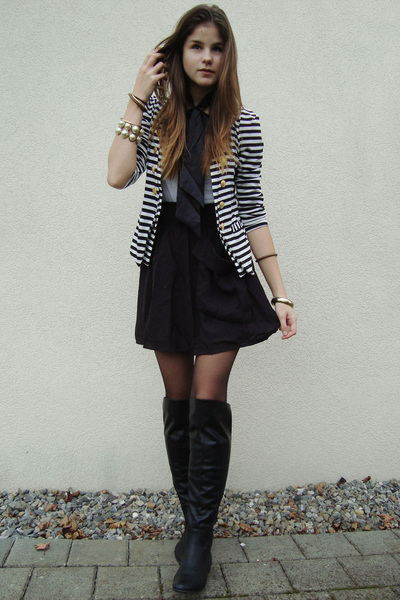 striped blazer - black boots - white shirt - black tights - black skirt