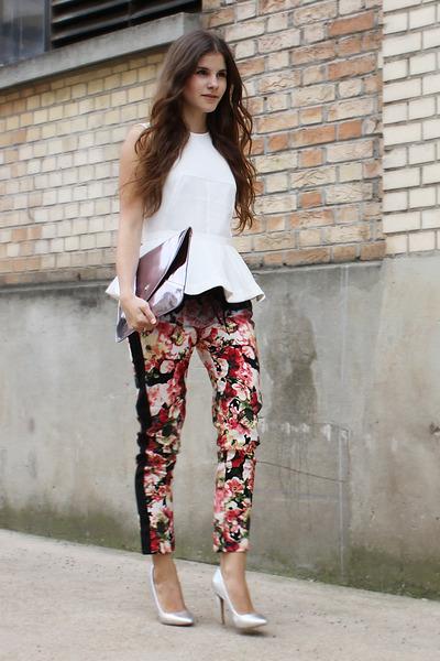 white peplum H&M shirt - silver romwe bag - silver asos pumps - floral H&M pants