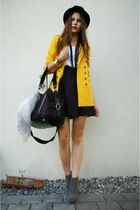 heather gray boots - mustard coat