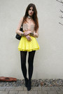 Light-pink-sequin-shirt-yellow-skirt