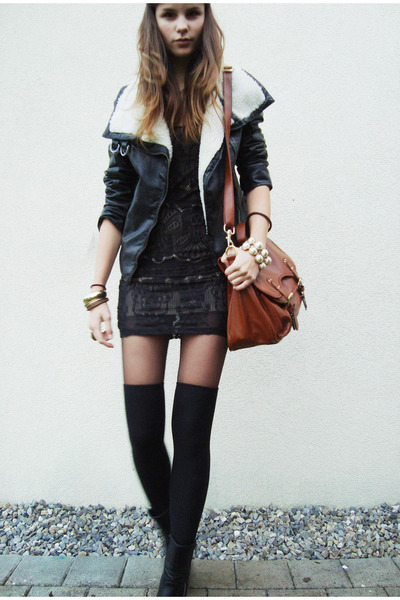 black shirt - black shoes - brown bag - black jacket