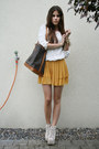 White-crochet-jeffrey-campbell-boots-mustard-shorts-white-rose-top