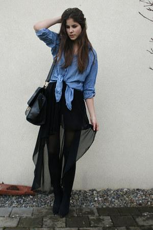 blue denim H&M shirt - black bag - black maxi skirt