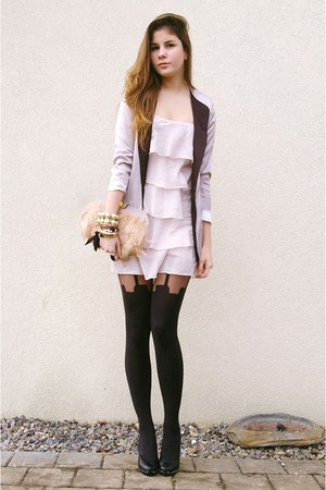 light pink dress - periwinkle blazer - black suspender tights - light pink feath
