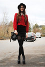 Red-sweater-black-bag