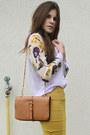 Mustard-skirt-periwinkle-floral-shirt