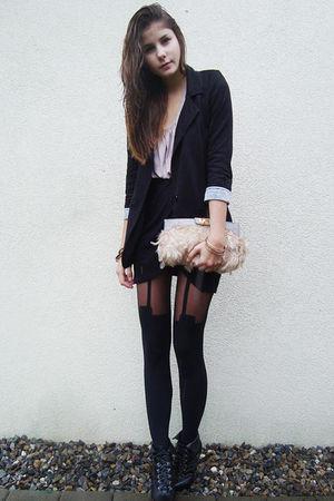black shoes - black tights - pink purse - black blazer - pink dress