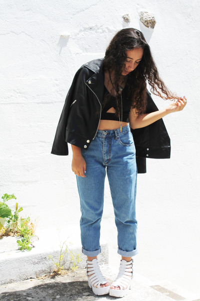 black Martofchina jacket - black Front Row Shop top - white Lovely shoes sandals