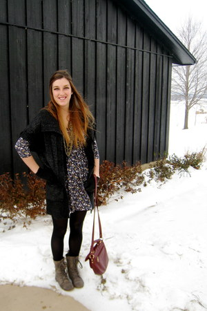 Forever 21 dress - Satch cardigan - Wanted boots - Forever 21 bag