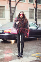 furry Zara jacket - black H&M boots - leather H&M leggings - purple Zara bag