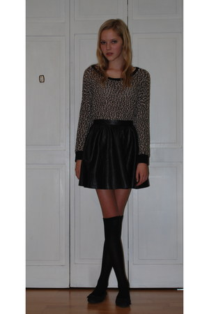 leather H&amp;M skirt - knit Forever 21 sweater - knee-highs Target socks