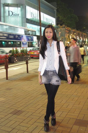 black studded Zara boots - white Zara blazer - gray Zara shorts