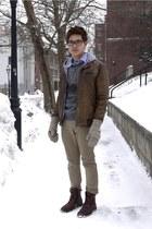 brown Zara jacket - crimson Rockport boots