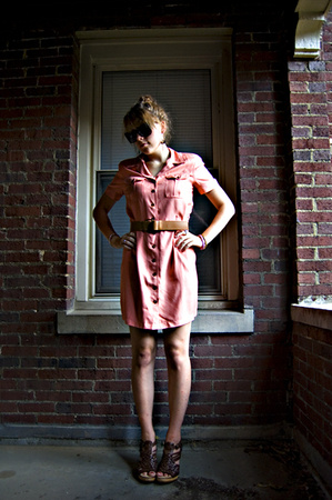 vintage dress - banana republic belt - Michael Kors shoes
