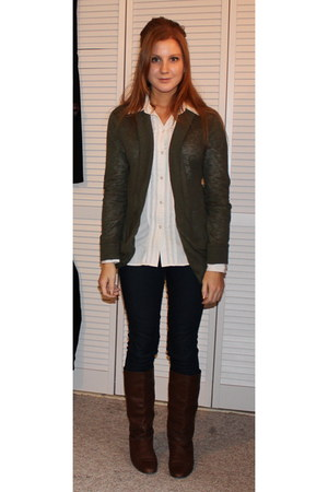dark brown Grandmas boots - navy Forever21 jeans - white American Eagle shirt