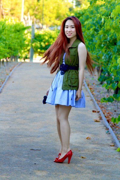 sky blue seersucker Abercrombie dress - army green Old Navy vest