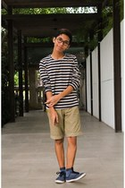 navy striped thrifted sweater - dark khaki trimmed nike shorts