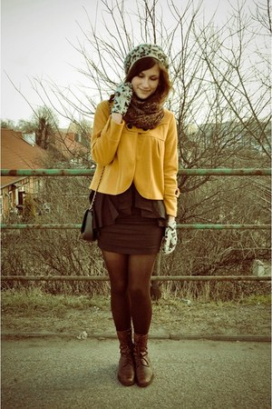 dark brown boots - mustard jacket - dark brown scarf - black Restyle skirt - egg