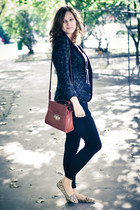 black Zara leggings - dark green H&M jacket - tawny new look bag