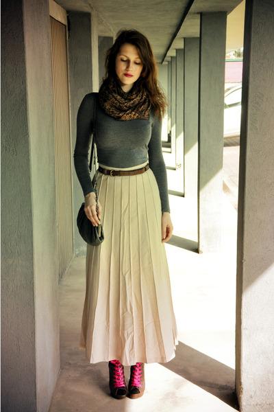 beige maxi skirt Aryton skirt - dark brown asos boots - dark brown scarf