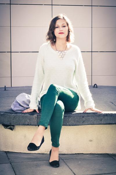 aquamarine angora H&M sweater - green 7-8 lenght Topshop jeans