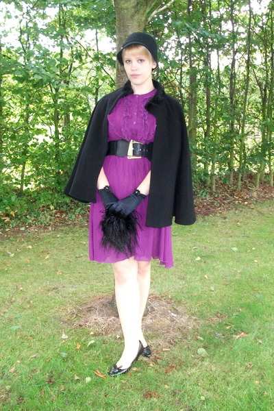black Charity coat - purple Juicy Pear belt - black gloves - black new look shoe
