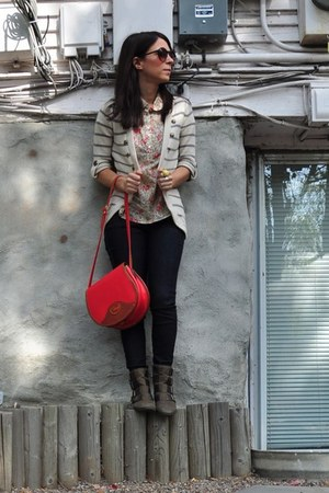 military BP cardigan - ankle boots boots - dooney &amp; burke bag - Forever21 blouse