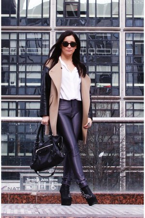 black Jeffrey Campbell boots - bronze Zara coat - white queenswardrobe shirt - b