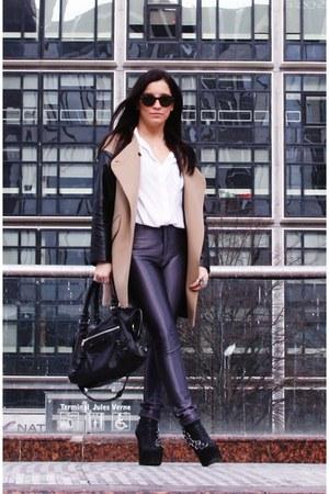 black Jeffrey Campbell boots - bronze Zara coat - white queenswardrobe shirt - b