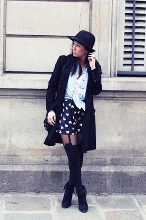 black Zara boots - black Topshop hat - sky blue Topshop shirt - black Henry Holl