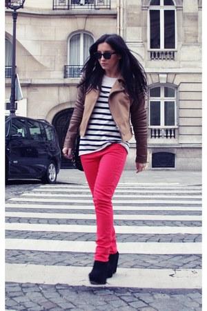 red asos jeans - burnt orange asos jacket - black Reiss bag - black Topshop wedg