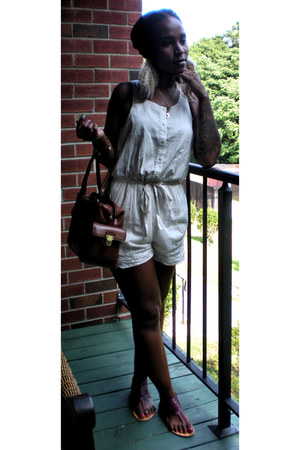 H&M romper - brown unknown bag - purple Kimchi Blue sandals
