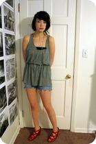 Target top - DIY shorts - Anthropologie necklace - Anthropologie shoes