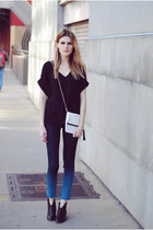 ombre dl1961 jeans - Steve Madden boots - H&M bag - cut out Lush Clothing blouse