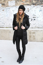 fur hood Kenneth Cole jacket - New Yorker boots - H&M hat - BELLE DU JOUR top