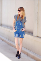 Steve Madden boots - H&M t-shirt - denim dungarees asos romper